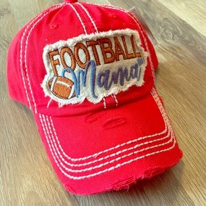 NWT Football Mom Red Distressed Ball Cap